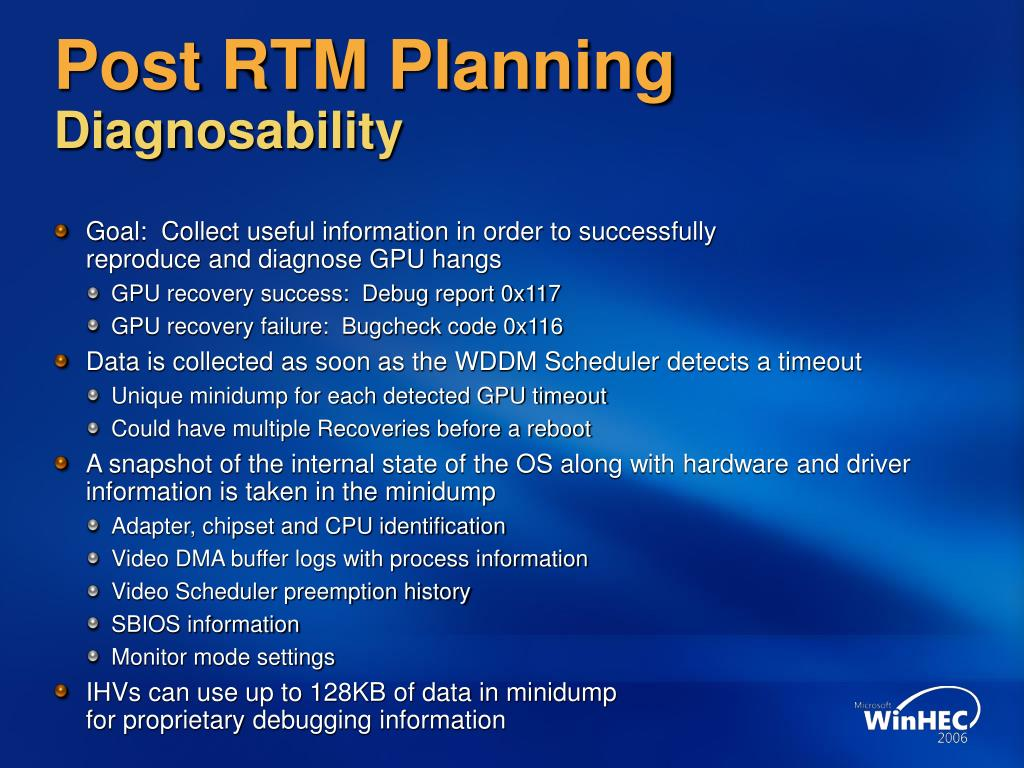 Post RTM Planning