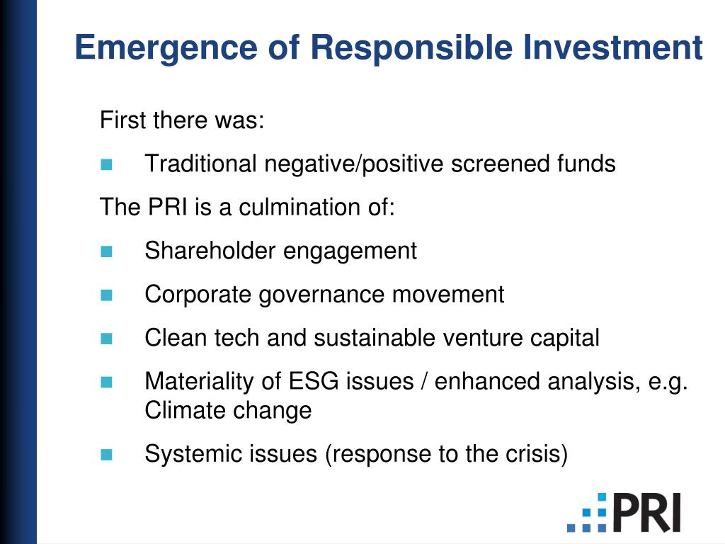 Emergence of Responsible Investment
