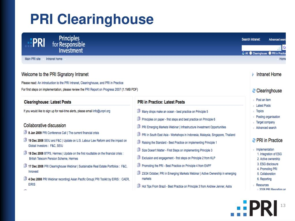 PRI Clearinghouse