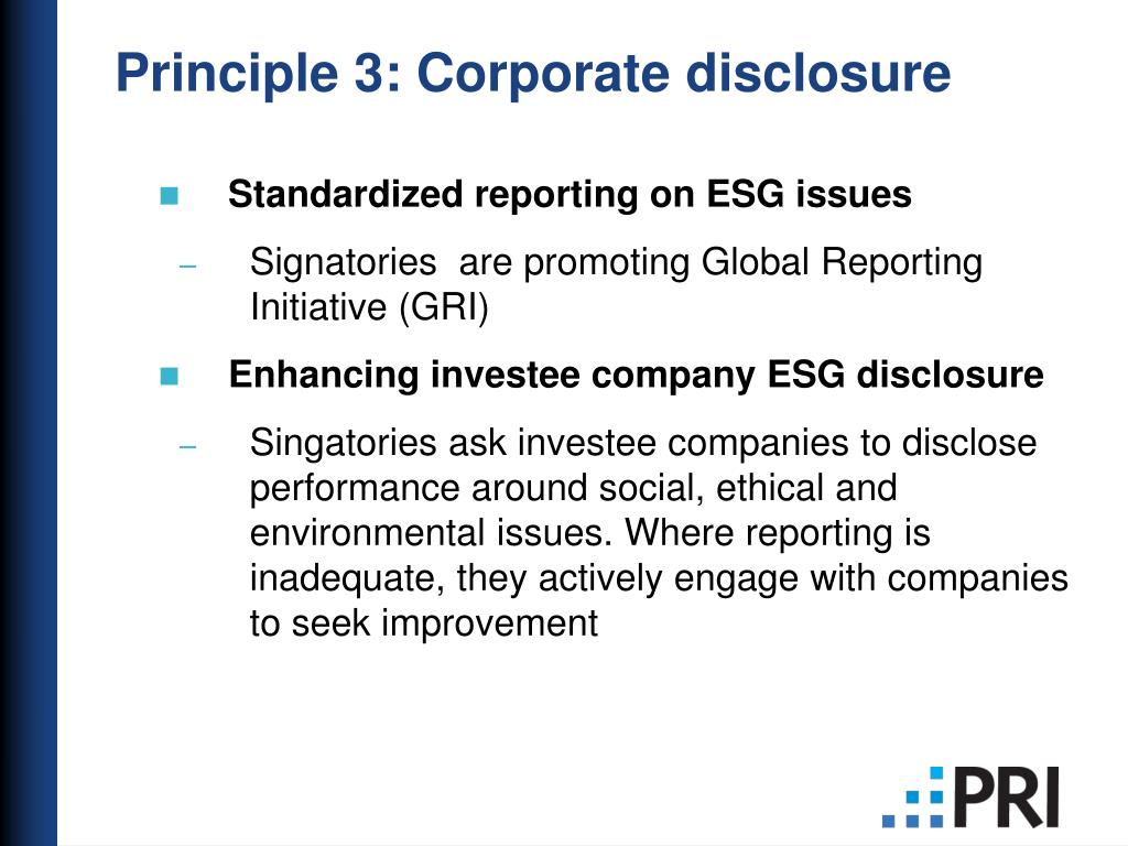 Standardized reporting on ESG issues
