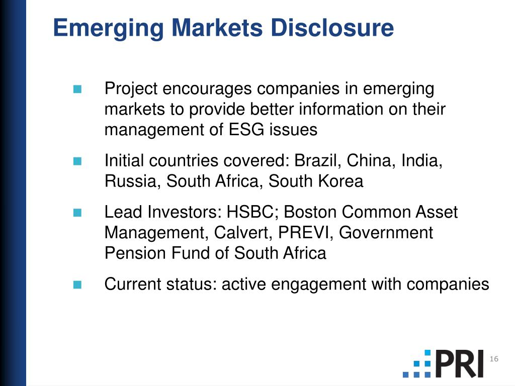 Emerging Markets Disclosure