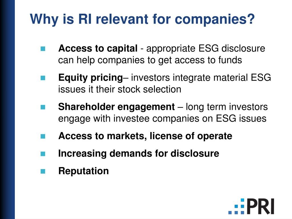 Why is RI relevant for companies?