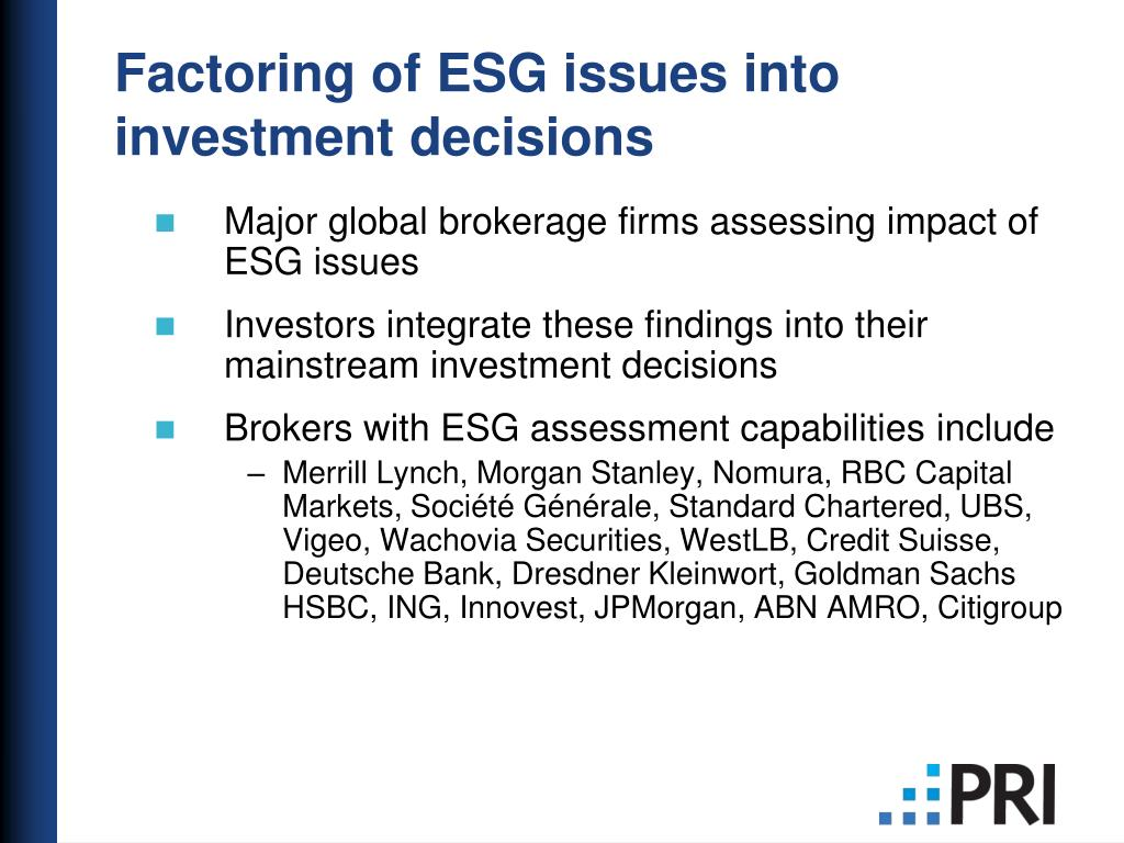 Factoring of ESG issues into