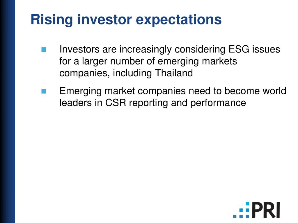 Rising investor expectations