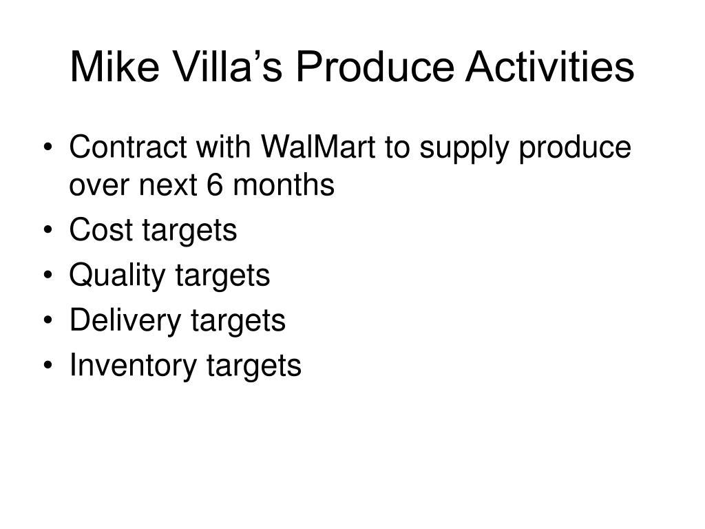 Mike Villa's Produce Activities