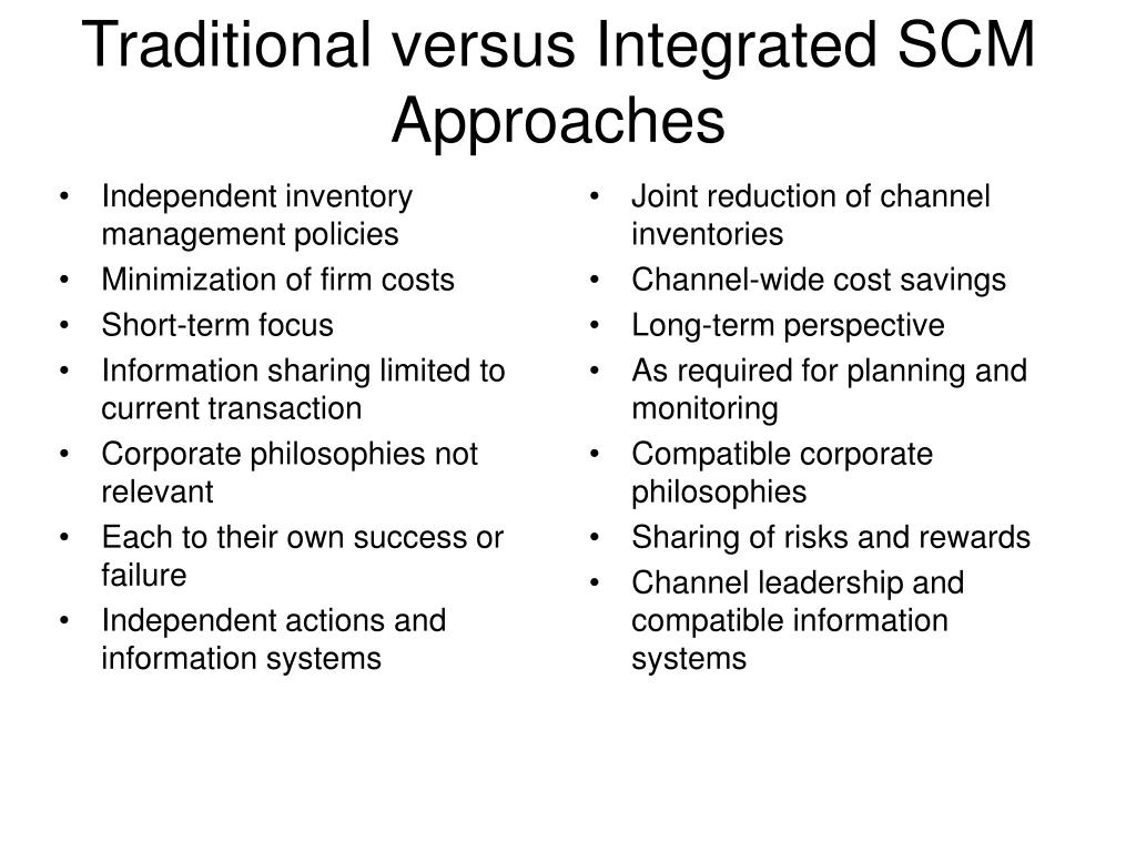 Traditional versus Integrated SCM Approaches