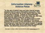 information literacy science focus