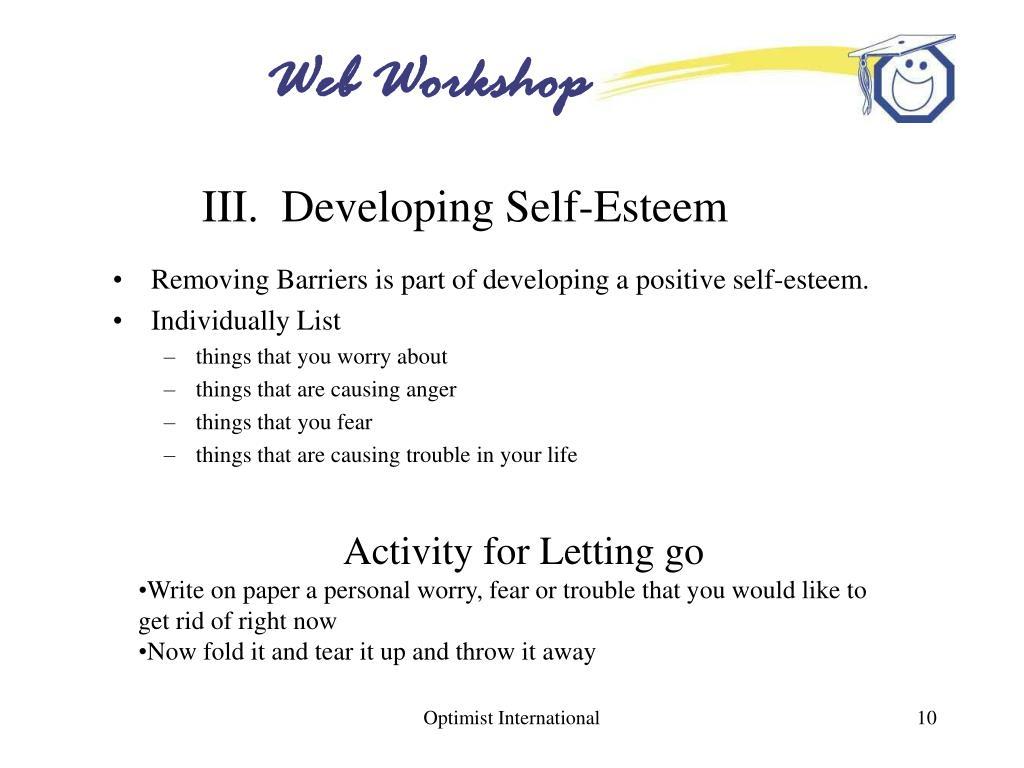 III.  Developing Self-Esteem