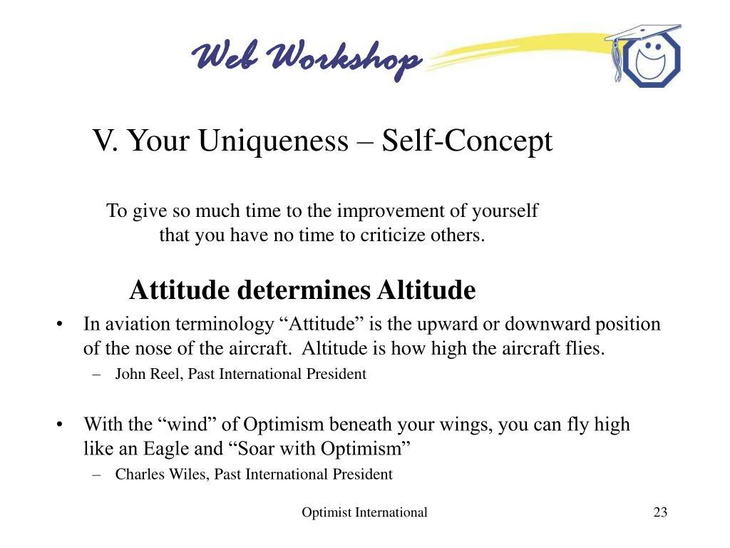 V. Your Uniqueness – Self-Concept