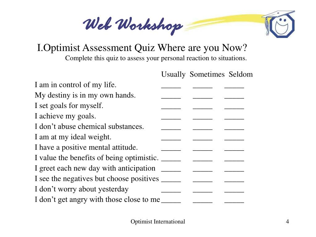 I.Optimist Assessment Quiz Where are you Now?