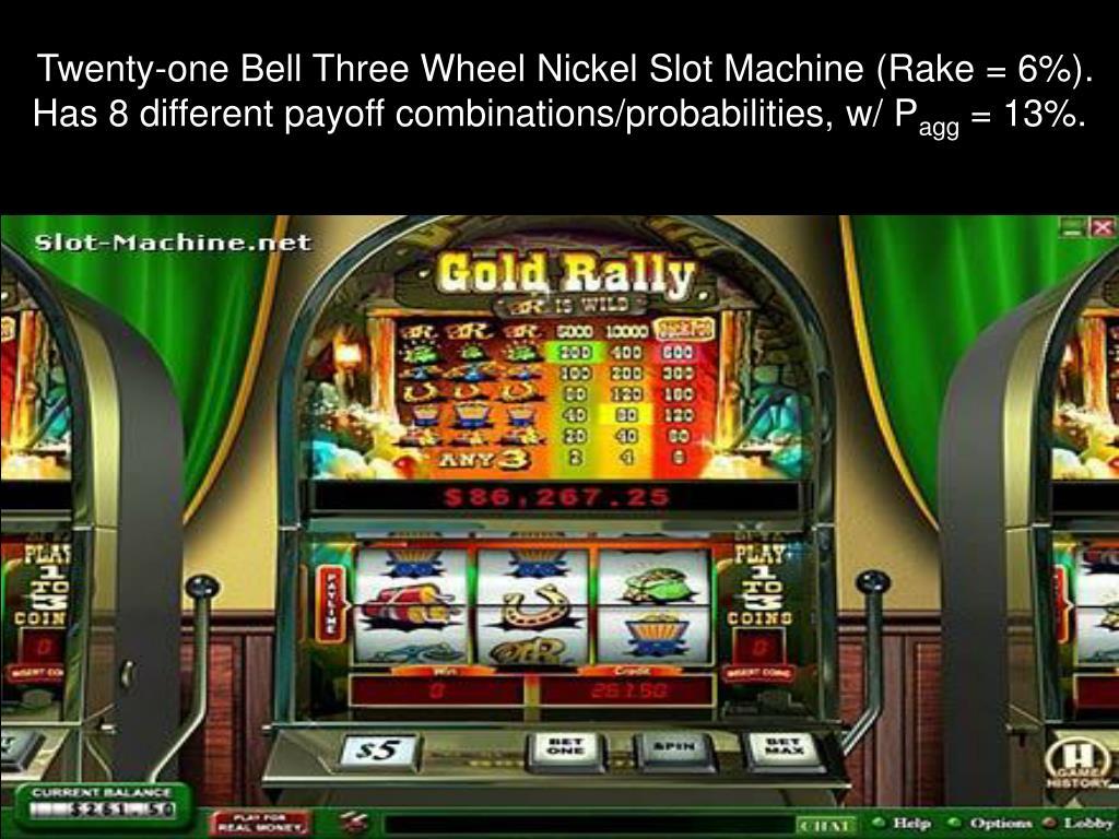 Twenty-one Bell Three Wheel Nickel Slot Machine (Rake = 6%).