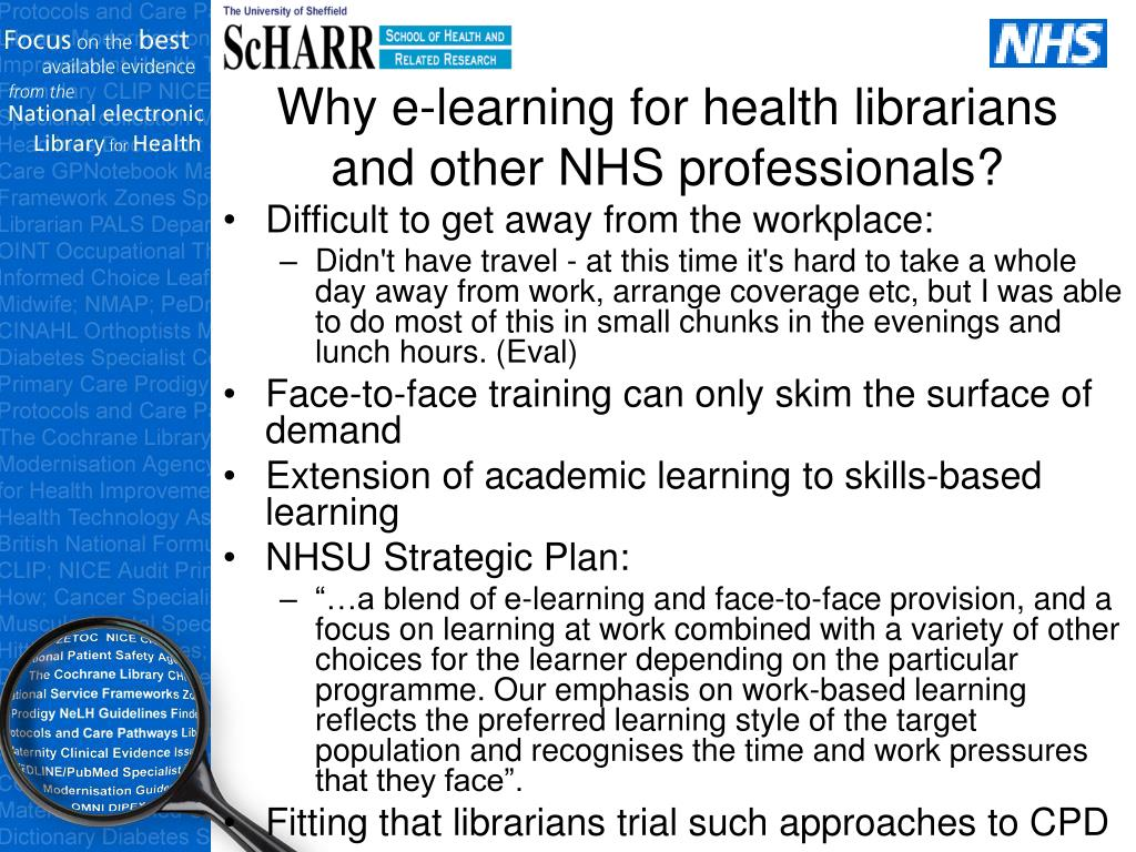 Why e-learning for health librarians and other NHS professionals?