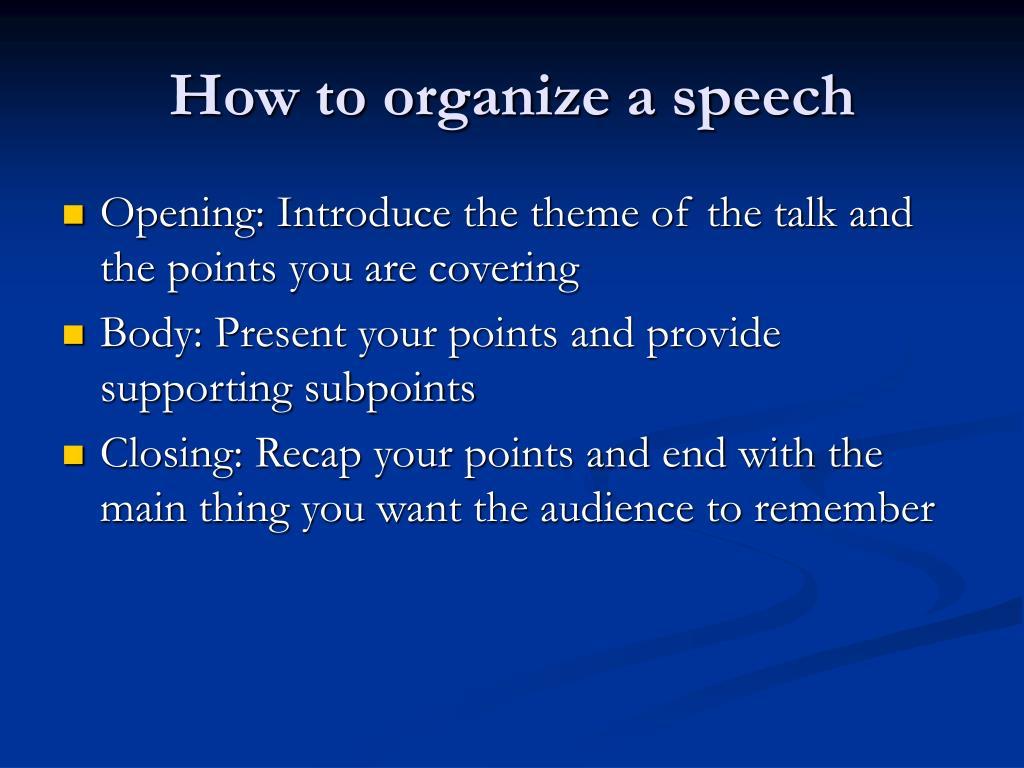 How to organize a speech