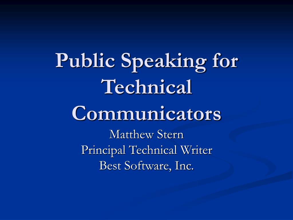 Public Speaking for Technical Communicators