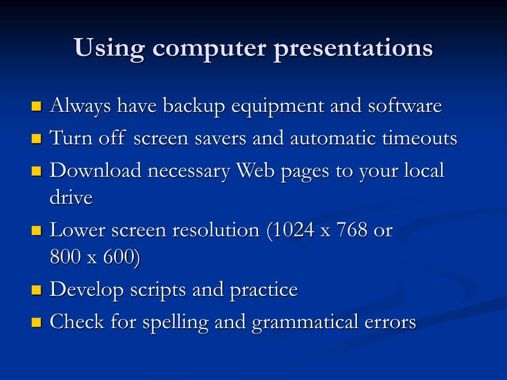 Using computer presentations