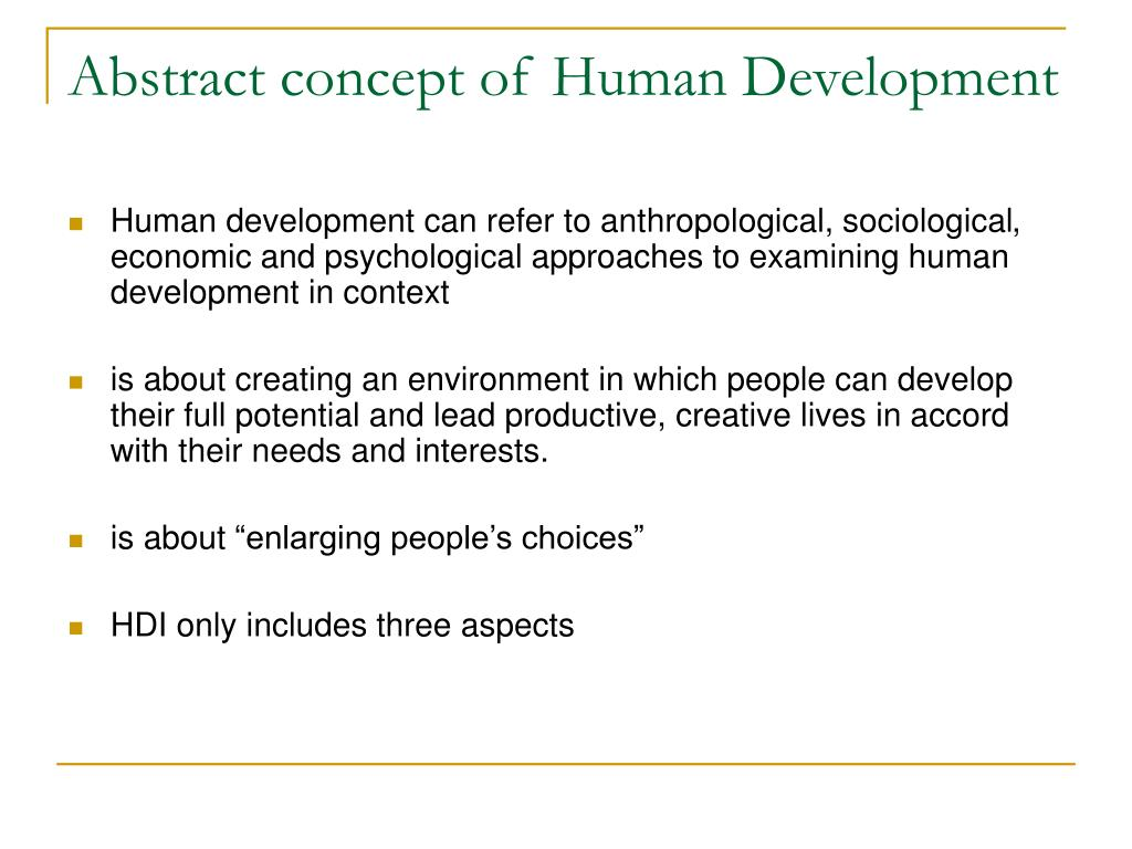 Abstract concept of Human Development