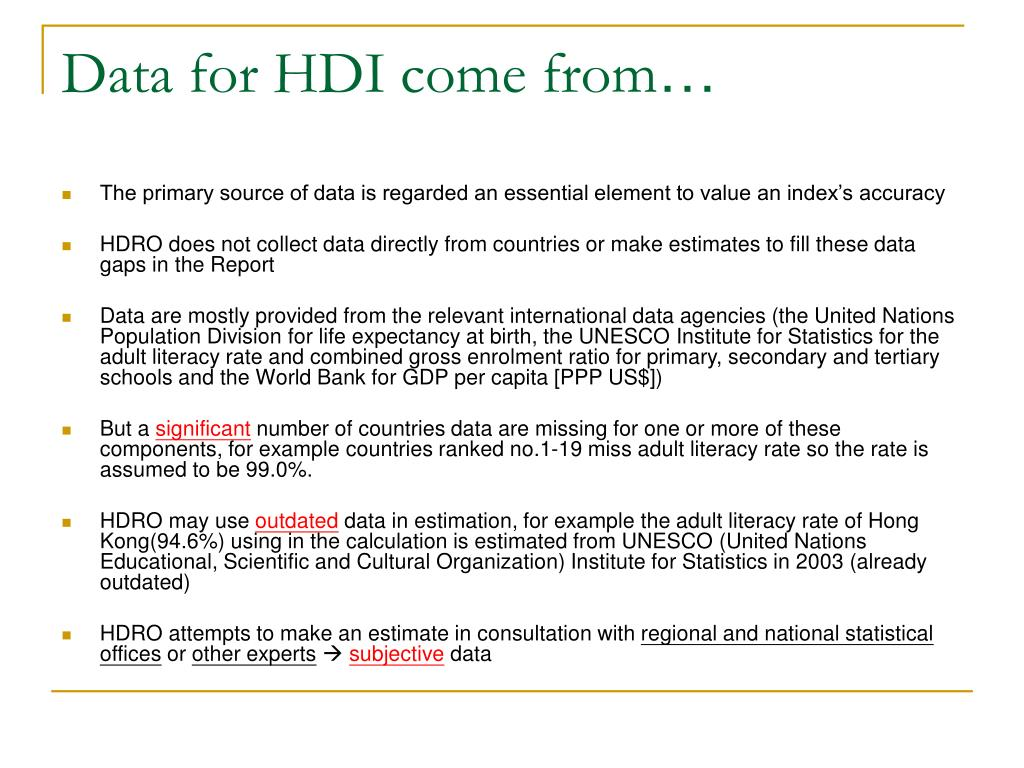 Data for HDI come from