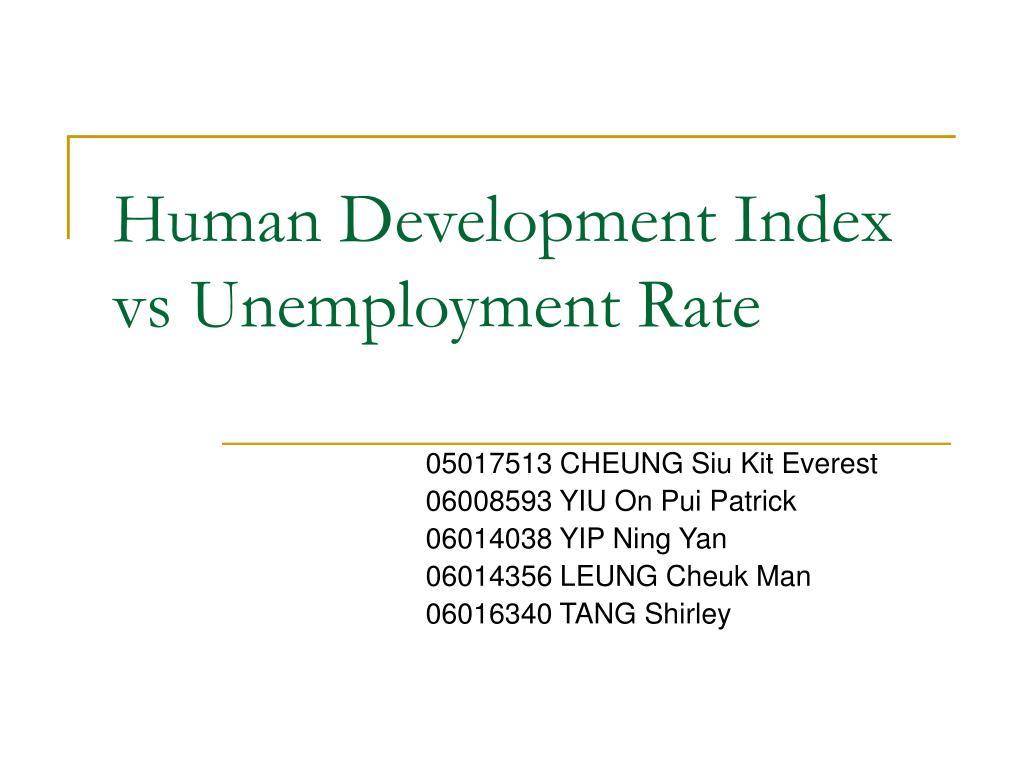 Human Development Index vs Unemployment Rate