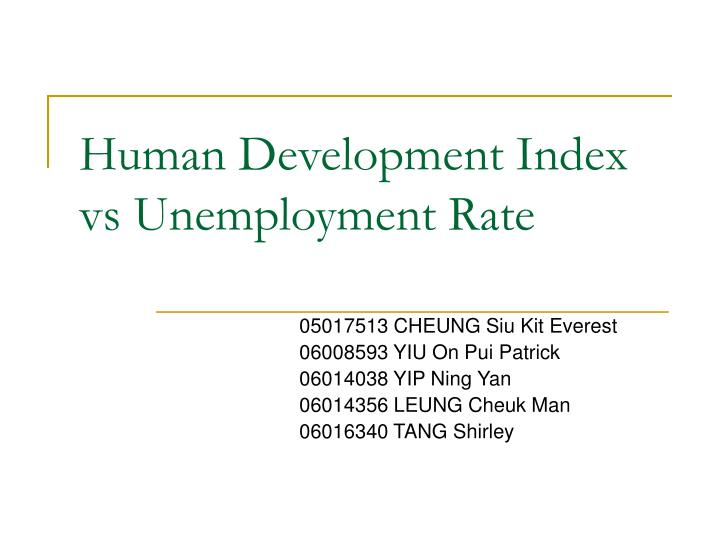 Human development index vs unemployment rate l.jpg