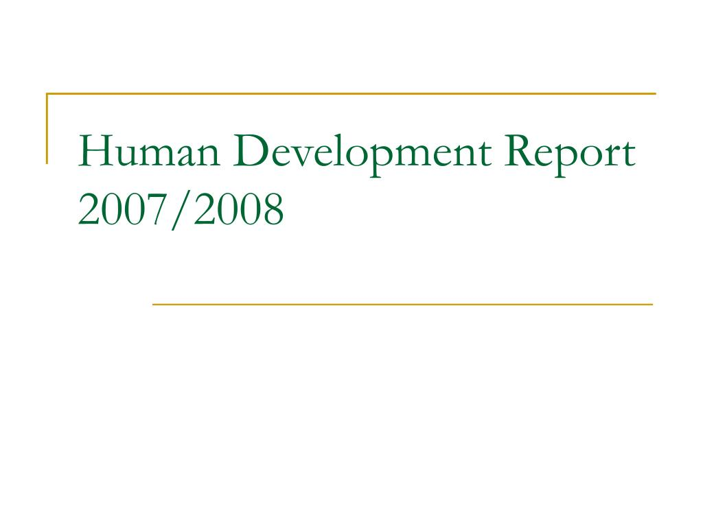 Human Development Report 2007/2008