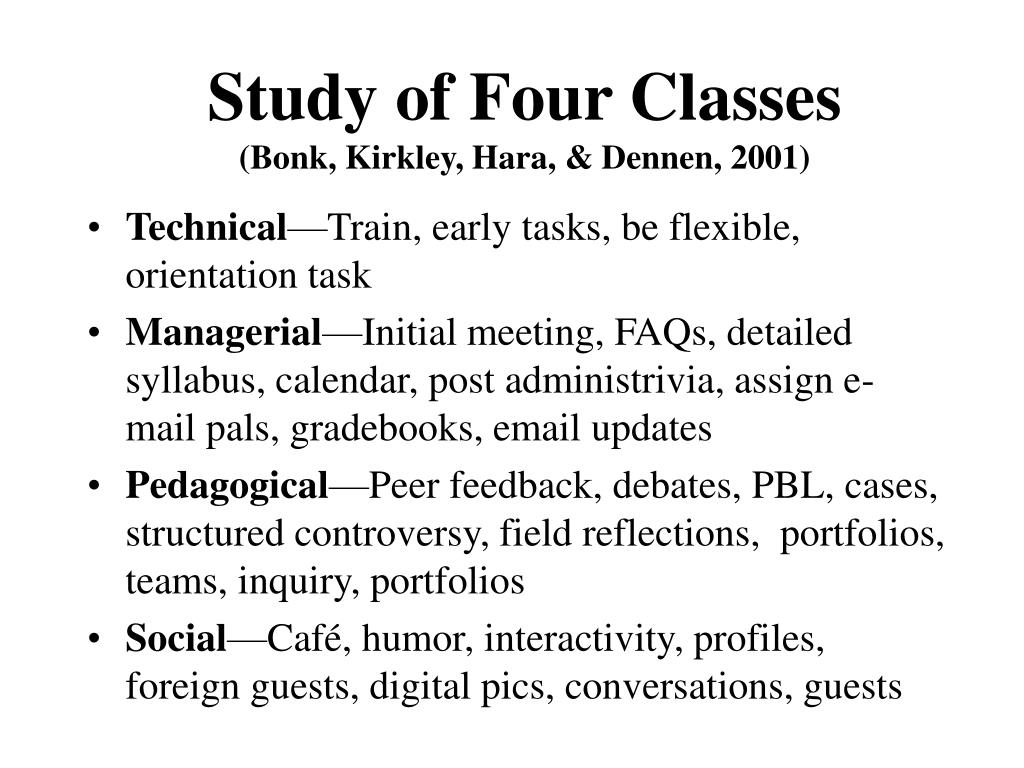 Study of Four Classes