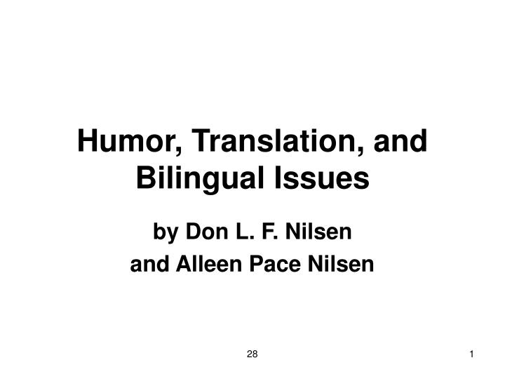 Humor translation and bilingual issues