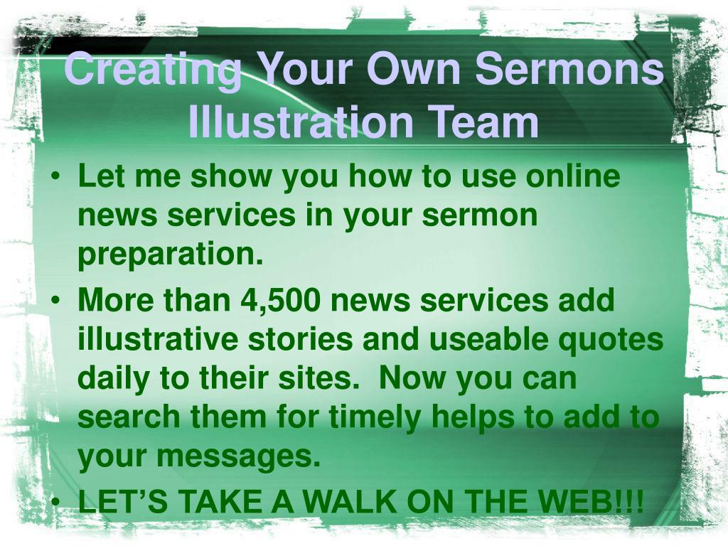 Creating Your Own Sermons Illustration Team