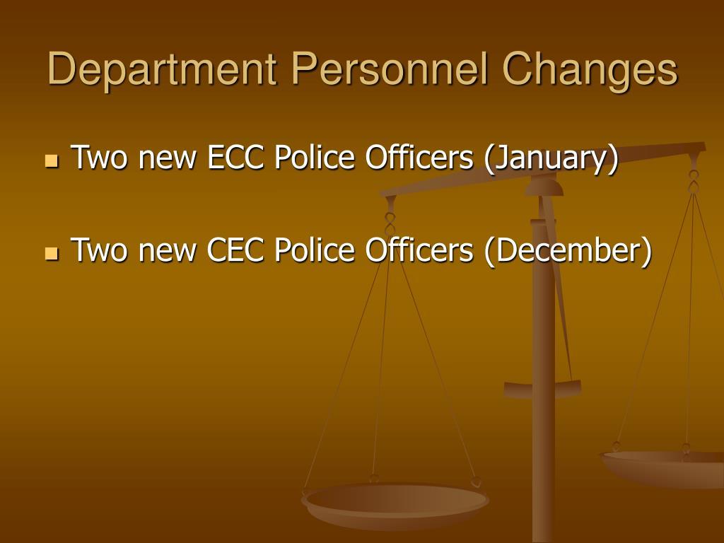 Department Personnel Changes