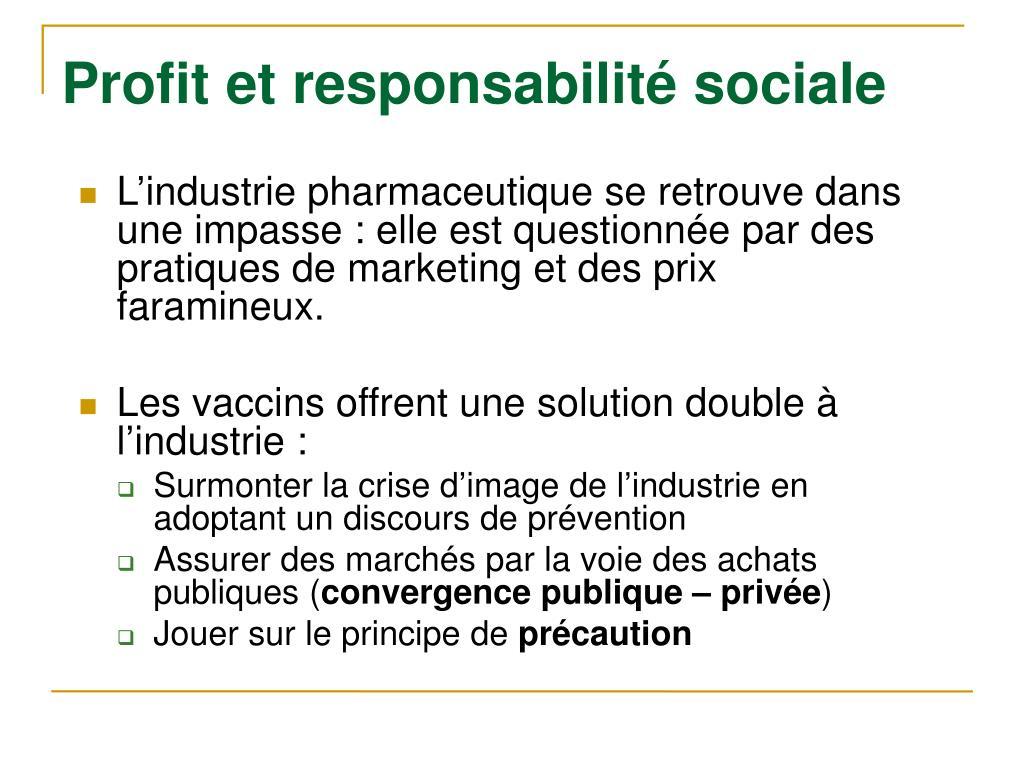 Profit et responsabilité sociale