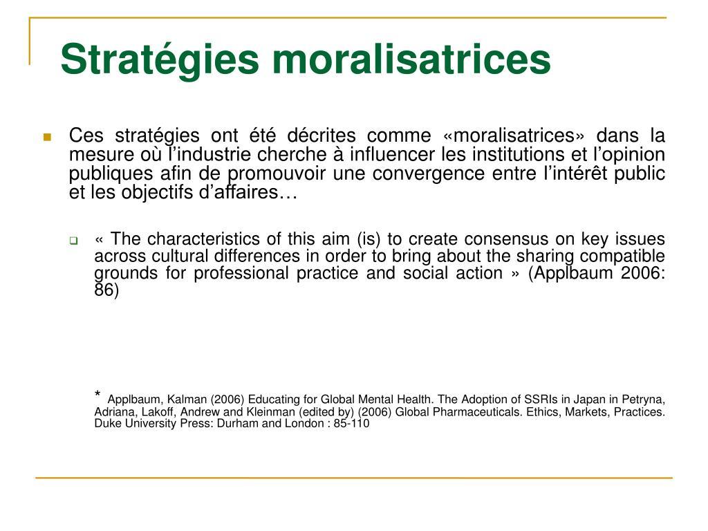 Stratégies moralisatrices