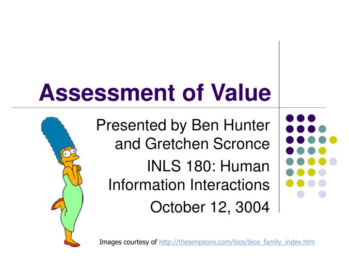 Assessment of value