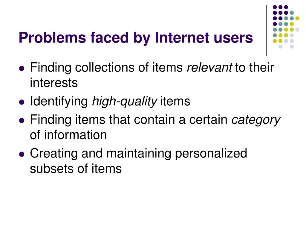 Problems faced by Internet users