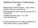 statistical success of web based ads
