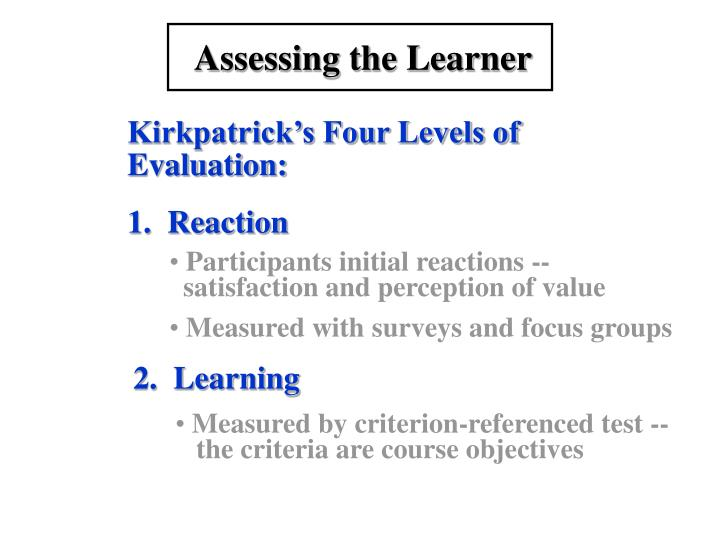 Assessing the Learner