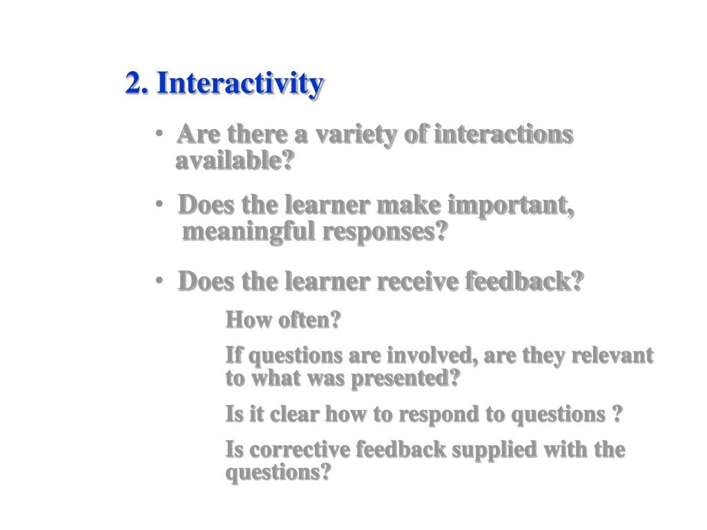 2. Interactivity