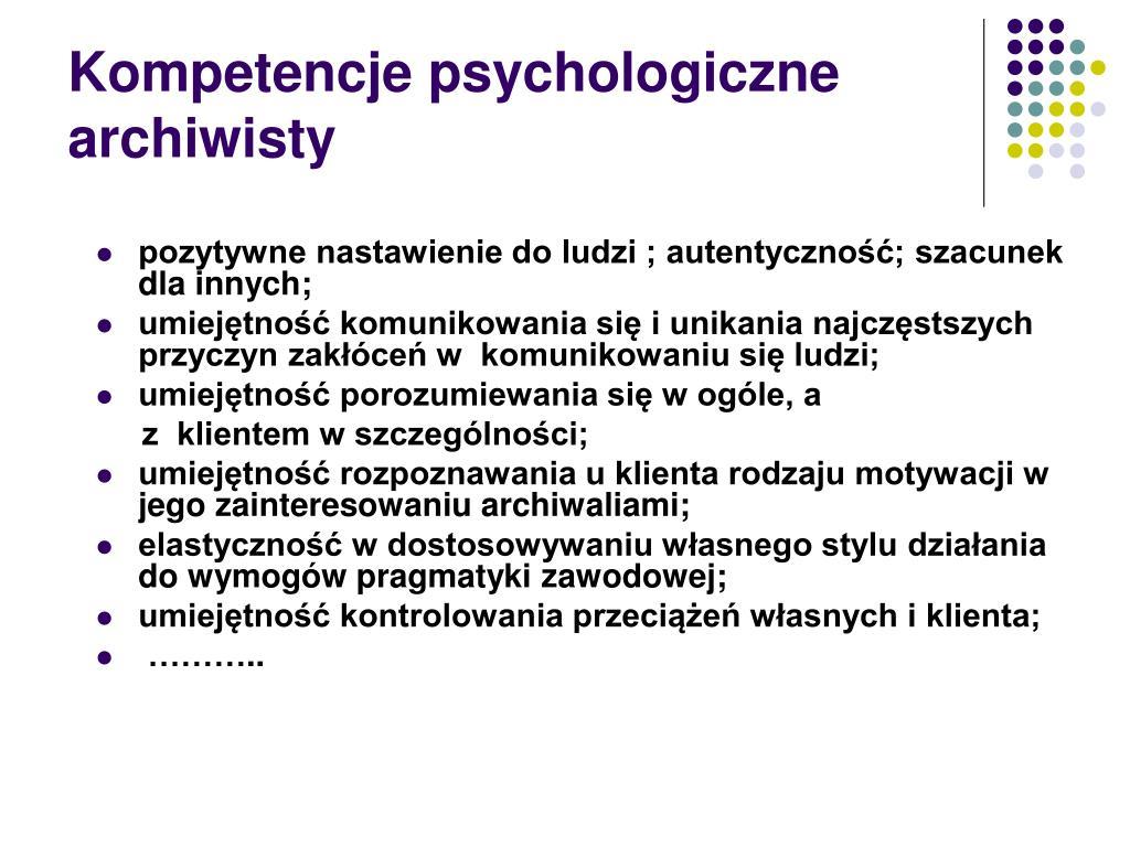 Kompetencje psychologiczne archiwisty