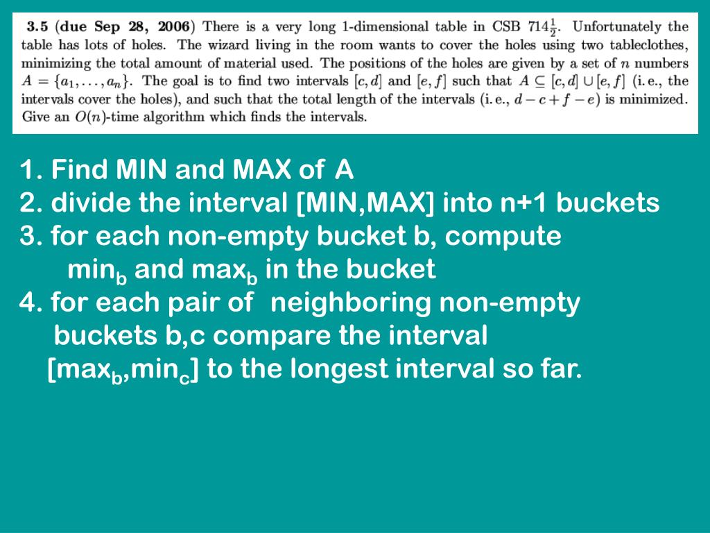 1. Find MIN and MAX of A