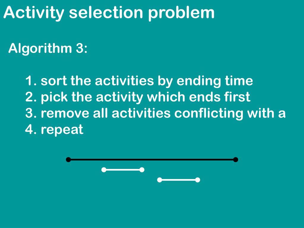 Activity selection problem