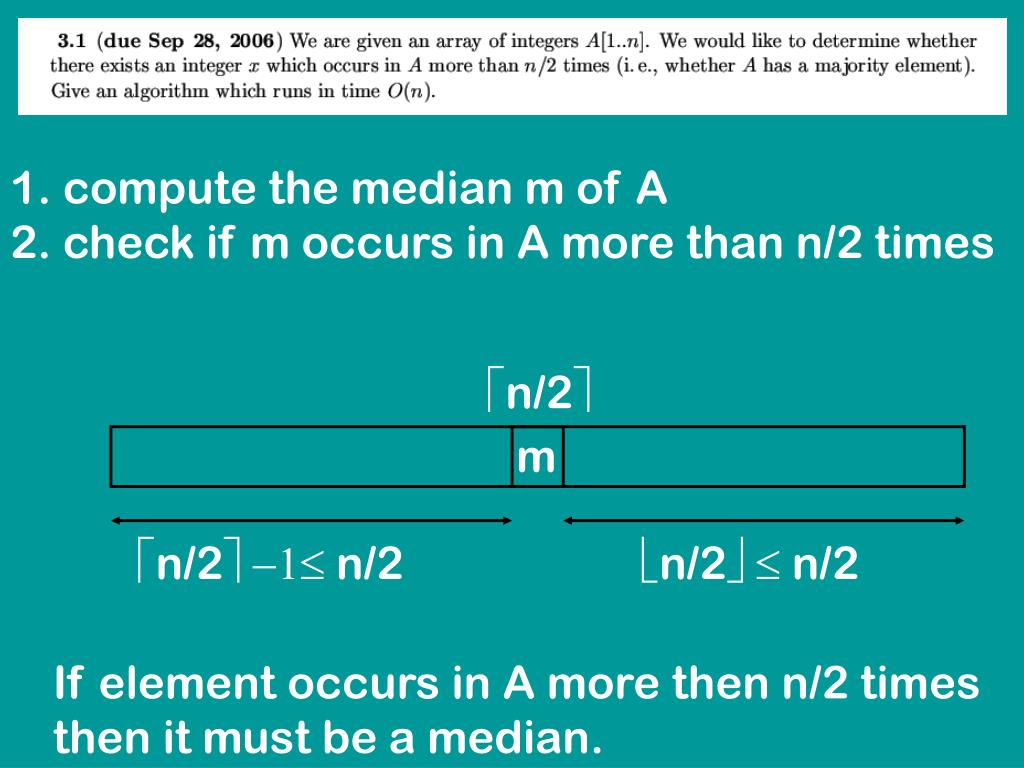 compute the median m of A