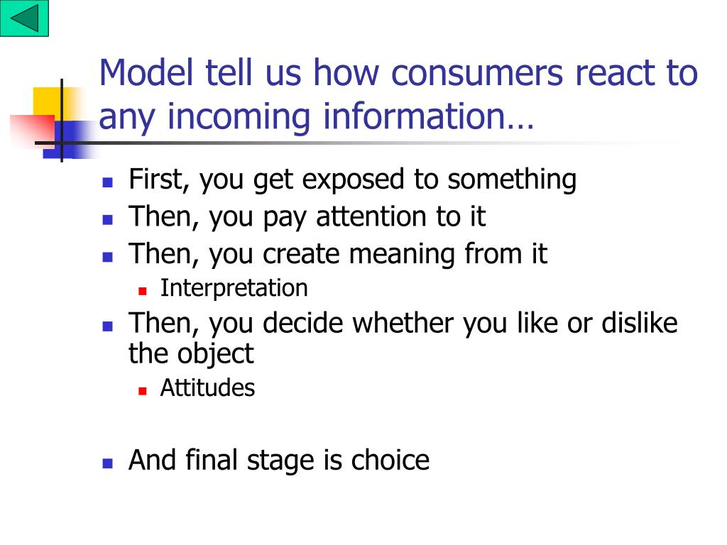 Model tell us how consumers react to any incoming information…