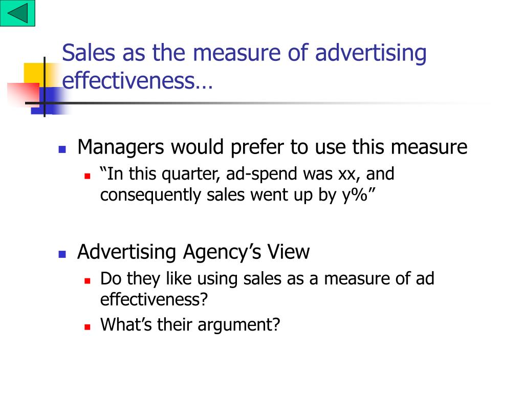 Sales as the measure of advertising effectiveness…
