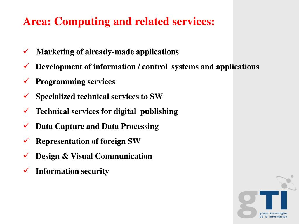 Area: Computing and related services: