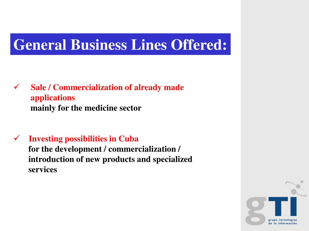 General Business Lines Offered:
