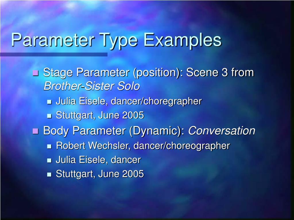 Parameter Type Examples