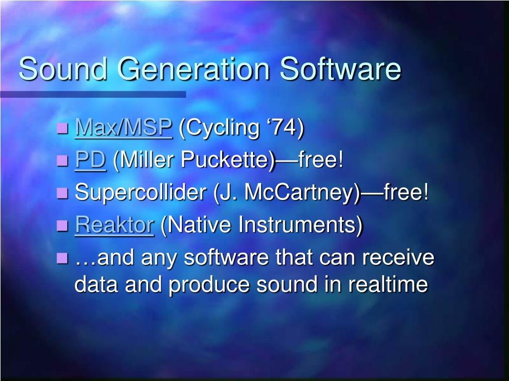 Sound Generation Software