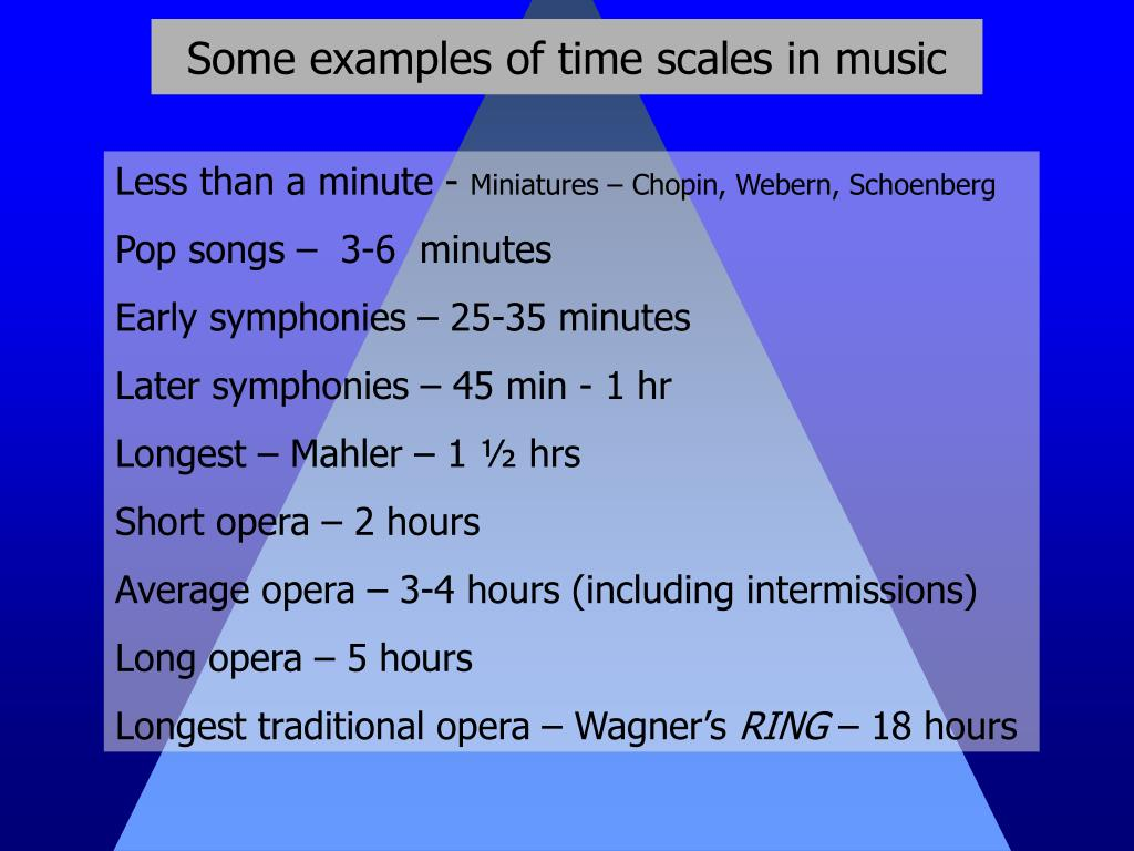 Some examples of time scales in music