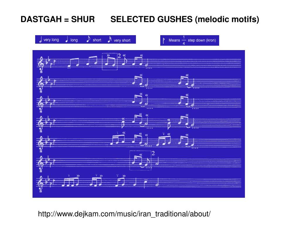 DASTGAH = SHUR  SELECTED GUSHES (melodic motifs)