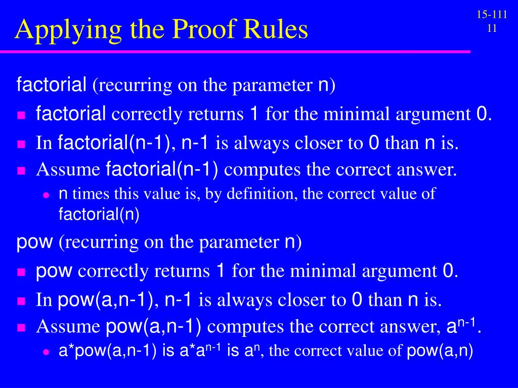 Applying the Proof Rules