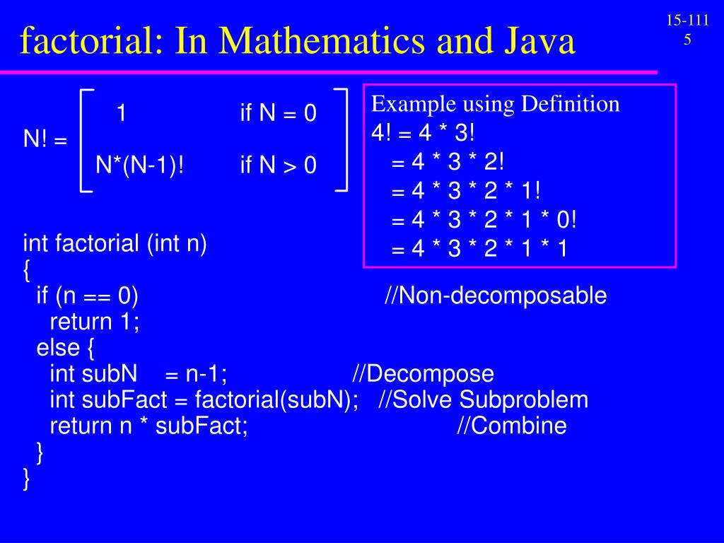 factorial: In Mathematics and Java
