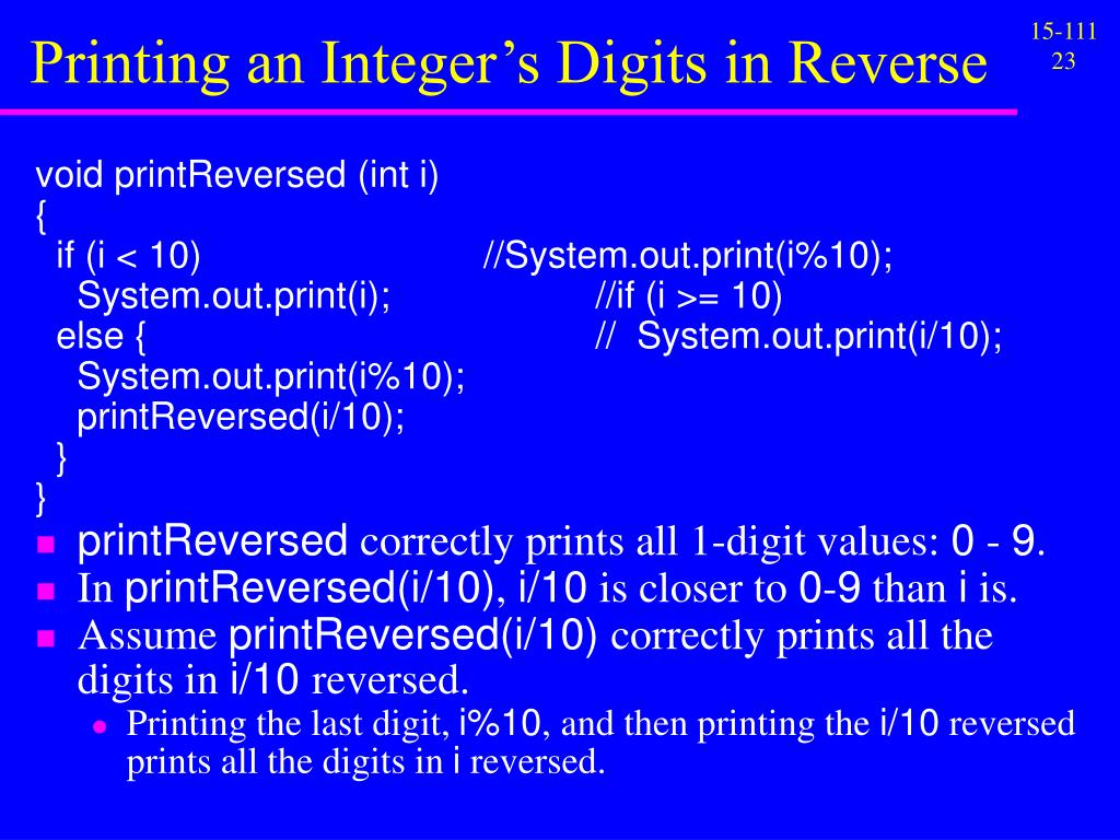 Printing an Integer's Digits in Reverse